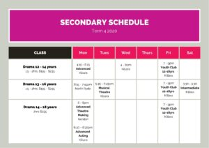 Term 4 Schedule Secondary2020