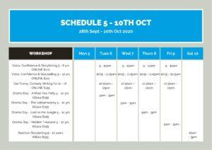 Week 1 Drama Holiday workshop Schedule